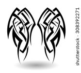 hand drawn tribal tattoo in... | Shutterstock .eps vector #308392271