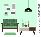 vector interior home furniture... | Shutterstock .eps vector #308402987