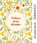follow your dreams poster. eps... | Shutterstock .eps vector #308404421
