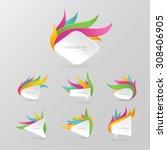 white realistic paper banner... | Shutterstock .eps vector #308406905