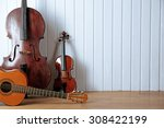 musical instruments on wooden... | Shutterstock . vector #308422199