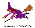 witch on a broom   illustration | Shutterstock . vector #308435354