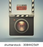 clapper board and video camera  ... | Shutterstock .eps vector #308442569