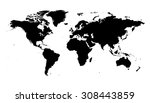 world map black silhouette map | Shutterstock .eps vector #308443859