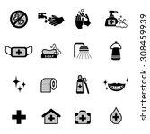 hygiene icons set | Shutterstock .eps vector #308459939
