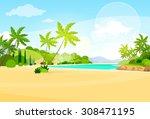 tropical beach island palm tree ... | Shutterstock .eps vector #308471195