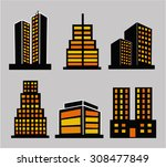 commercial building icon set | Shutterstock .eps vector #308477849
