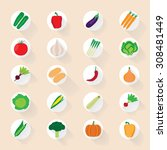 vegetable flat icons with a... | Shutterstock .eps vector #308481449