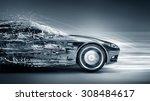 Stock photo speeding car concept 308484617