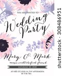 wedding card or invitation with ... | Shutterstock .eps vector #308486951