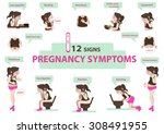 signs of pregnancy symptoms... | Shutterstock .eps vector #308491955