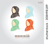 muslim girl  icon with hijab.... | Shutterstock .eps vector #308498189