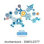connection people hexagon... | Shutterstock .eps vector #308512577