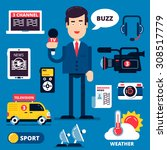 set of breaking news icons... | Shutterstock .eps vector #308517779