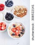 breakfast  oatmeal cereals with ... | Shutterstock . vector #308522141