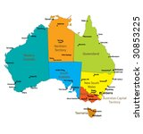 Map Of Australia with major Towns and Cities- Each state in its own group