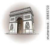 paris  arc de triomphe  vector... | Shutterstock .eps vector #30853723