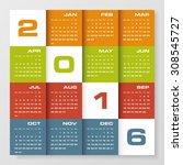 simple design calendar 2016...   Shutterstock .eps vector #308545727