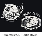vintage motor club motocycle... | Shutterstock .eps vector #308548931