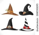 witch hat with straps and... | Shutterstock .eps vector #308550095