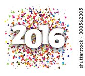 happy 2016 new year with... | Shutterstock .eps vector #308562305