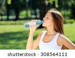 young beautiful brunette woman... | Shutterstock . vector #308564111