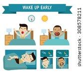 wake up early full sleeping.... | Shutterstock .eps vector #308578211