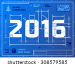 card of new year 2016 as... | Shutterstock .eps vector #308579585