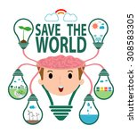 save the world concept  ... | Shutterstock .eps vector #308583305