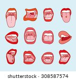 mouths collection in different... | Shutterstock .eps vector #308587574