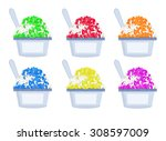 set of colorful shaved ice with