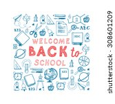 back to school square... | Shutterstock .eps vector #308601209