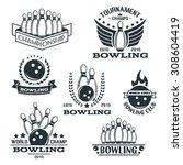 Set Of Bowling Logos  Labels ...