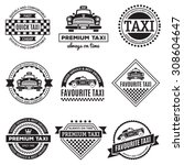 set of vintage and modern taxi...   Shutterstock .eps vector #308604647