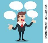 business man with speech... | Shutterstock .eps vector #308605655