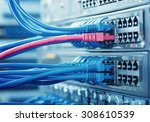 network cables connected to... | Shutterstock . vector #308610539