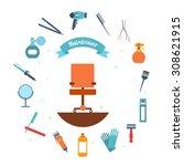 hairdresser decorative set with ... | Shutterstock . vector #308621915