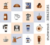 coffee icons flat line set with ... | Shutterstock . vector #308623181