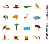 australia travel icons flat set ... | Shutterstock . vector #308623301