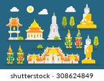 thailand temple infographic... | Shutterstock .eps vector #308624849