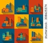 industrial city construction... | Shutterstock . vector #308625374