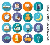 sleep time icons flat set with... | Shutterstock . vector #308625401