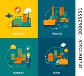 factory flat icons set with... | Shutterstock . vector #308625551