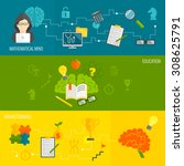 brain thinking banner flat set... | Shutterstock . vector #308625791