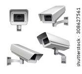 surveillance camera safety home ... | Shutterstock . vector #308627561