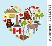 canada colored decorative... | Shutterstock . vector #308627915