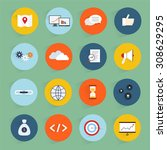 seo marketing flat icons set... | Shutterstock . vector #308629295