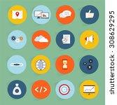 seo marketing flat icons set...   Shutterstock . vector #308629295