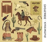 hand drawn wild west icons set...   Shutterstock .eps vector #308639345