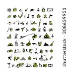 fishing icons  sketch for your... | Shutterstock .eps vector #308639921